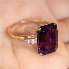 Vintage-Retro Gold Amethyst & Diamond Engagement Ring