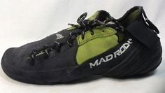Mad Rock Climbing Shoes 7 Womens Hooker Lace Rubber Black Suede Green