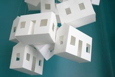 Large Paper House Mobile in White by NatalieWalser on Etsy