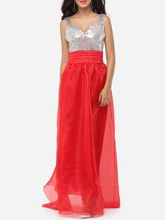 Paillette Sweet Heart Dacron Color Block Maxi Dress