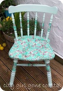 decoupage :) Ideas for our money making plan. If it looks like the chair could use a little pretty with it.