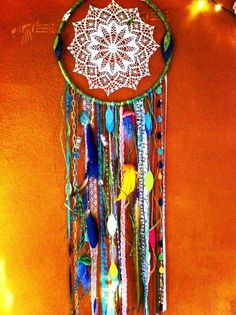 DIY Dream catcher by Cindi Lou. op shop material supplies and spotlight are a must for one of these Cute Crafts, Diy And Crafts, Arts And Crafts, Dream Catchers, Mantras Chakras, Mandala Azul, Craft Projects, Projects To Try, American Heritage Girls
