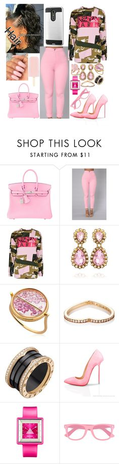 """All things pink"" by sheismisslewis ❤ liked on Polyvore featuring Hermès, Kenzo, Aurélie Bidermann, Repossi, Bulgari, Appetime, fred flare and Color Club"