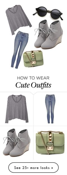 """""""insanely cute outfit/ trendt"""" by lgmay on Polyvore featuring Topshop, MANGO, Valentino, WithChic, women's clothing, women's fashion, women, female, woman and misses"""