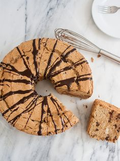 Mocha Chocolate Chip Angel Food Cake with Mocha Ganache is a perfect companion to your daily cup of coffee.
