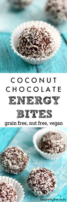Coconut chocolate energy bites are just right for a mid-day snack!