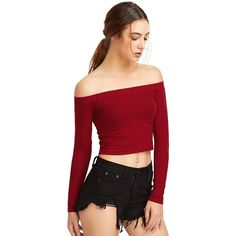 ROMWE Women's Off Shoulder Knit Long Sleeve Crop Top at Amazon Women's... ($9.99) ❤ liked on Polyvore featuring tops, off shoulder knit top, crop top, off the shoulder tops, off the shoulder crop top and red off the shoulder top