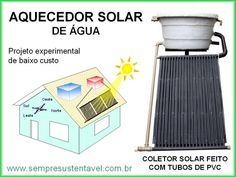 AQUECEDOR SOLAR DE ÁGUA PARA BANHO COM TUBOS DE PVC