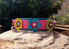 "1"" Flower Power dog collar. Hot pink and turquoise leather with leather flowers."