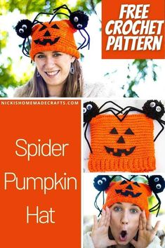Learn how to crochet a Spider Pumpkin Hat with a Jack-O-Lantern face and 2 spider pom poms on the side top of the hat. Ideal for Halloween as a costume or joke. #halloween #costume #spider #pumpkin #crochethat #pompom #freecrochetpattern #crochet #crochetpattern #crochethat #freecrochet #freepattern #hat #pompom #winter #diyideas #diy #giftideas #fall