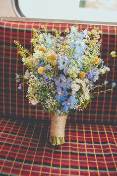 Wild Flower Blue Yellow Bouquet Bride Bridal Fun Enchantment Under The Sea Dance… - Bridal Flowers Blue Yellow Weddings, Spring Wedding Flowers, Wedding Colors, Wedding Blue, Trendy Wedding, Wedding Ideas, Wildflowers Wedding, Wedding Hair, Blue Bridal