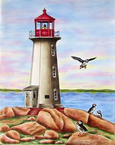 Peggy's Cove in Nova Scotia, Canada - This is a Pen & Ink with Oil Rouging pattern packet. If you wish to purchase a completed piece of artwork visit my website on how to contact me and additional details: www.sharonkuester.com