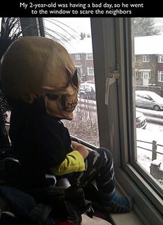 Kid was having a bad day, so his parents let him take a little time to cheer himself up...by scaring the neighbors