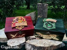 Harry Potter Hogwarts Houses - Wooden Box Box - Slytherin and Gryffindor. Pyrography and Laser Art