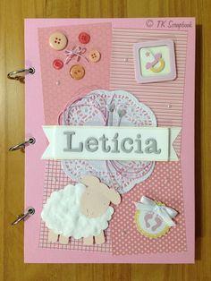 Álbum de fotos em scrapbook para bebê (visão geral do álbum para a bebê Letícia) #tkscrapbook