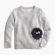 Meet Max the Monster! He's so terrifyingly cute, we put him everywhere...like on this cozy wool sweater. (Plus, he's fuzzy!)