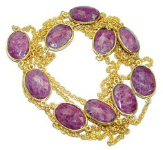 36 inches Genuine Ruby Stones Gold plated over Sterling Silver handcrafted Necklace – Jewelry