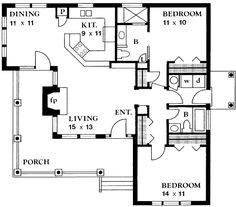 Great floor plan for a cabin | Country Style House Plan - 2 Beds 2 Baths 1065 Sq/Ft Plan #140-131 Main Floor Plan - Houseplans.com