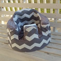 Grey and White Chevron Bumbo Cover by HowiesHobbies on Etsy