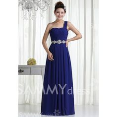 $58.49 Noble One Shoulder Rhinestoned Waist Design Women's Backless Floor Length Chiffon Prom Dress