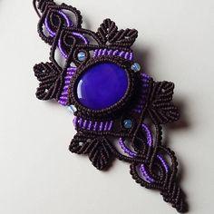 Purple onyx macrame bracelet macrame boho cuff bracelet