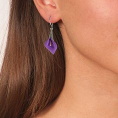 Handmade Black Plated Silver Purple Lily Drop Earrings - Anthos Crafts Flower Earrings, Dangle Earrings, Earrings Handmade, Handmade Jewelry, Purple Lily, Swarovski Stones, Affordable Jewelry, Best Jewelry Stores, Silver Flowers