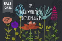 Check out 615 PS Watercolor Brushes SALE -25% by Favete Art on Creative Market