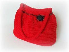 SALE 20% off Crochet handbag red handbag crochet shoulder