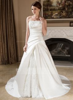 Wedding Dresses - $269.99 - A-Line/Princess Strapless Court Train Satin Lace Wedding Dress With Ruffle Beadwork (002000603) http://jjshouse.com/A-Line-Princess-Strapless-Court-Train-Satin-Lace-Wedding-Dress-With-Ruffle-Beadwork-002000603-g603