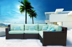 """FREE SHIPPING in Canada. Provence Outdoor Patio Wicker Sunbrella Spectrum Mist Corner Sectional Sofa by Cieux. Long-lasting, thick Sunbrella Spectrum Mist cushions padded with dacron wrap for plush comfort. Beautifully hand-woven premium resin wicker with a rich dark chocolate finish. Deep seating and wide arms. Customize with extra armless chair, ottoman, and end table. Overall Dimension : 98""""W x 98""""D x 35""""H. Visit website for more information or call us at 1-866-595-8930."""