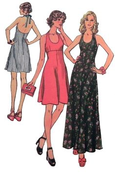 1970s Halter Dress sewing pattern  Simplicity by retroactivefuture, $9.00