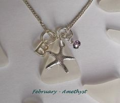Amethyst necklace  February Birthday by SeaGlassJewelryEtsy