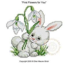 Schema punto croce Coniglietto Con Fiori 1