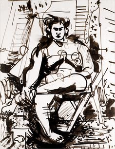 Hans Hofmann (1880-1966) Untitled Figure circa 1934 India Ink on Paper 11 x 8 1/2