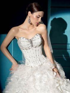 Ball Gown Sweetheart Long Organza Wedding Dress