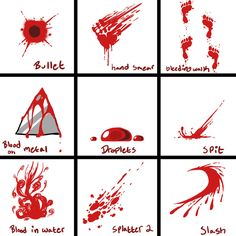 Blood Reference Sheet   How To Draw Bloody Foot Prints / Stains / Blood On  A Knife / Smears / Bullet Wound   Drawing Reference