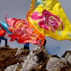 Flags for Nepal on top of Errigal , Donegal, Flags, Outdoor Decor, Top, Painting, Painting Art, National Flag, Paintings, Painted Canvas