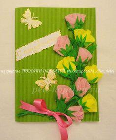 Поздравительная открытка с розочками