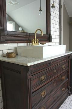 Vintage Dresser Retrofitted for Bathroom Vanity.