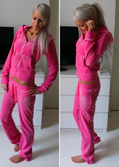 I have a hot pink juicy couture track suit and guys it is so cute and COMFORTABLE!!! Everyone needs one!!!