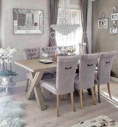 📷: home ✨ Elegant Dining Room, Luxury Dining Room, Dining Room Table, Hampton Furniture, Home Furniture, Small Farmhouse Kitchen, Dinner Room, Ideas Hogar, Elegant Kitchens