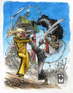 The Bride vs. Afro Samurai - Brett Barkley Afro Samurai, Samurai Art, Kung Fu, Comic Character, Character Design, Naruto, Ninja Art, Black Comics, Black Cartoon