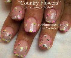 Nail-art by Robin Moses Diy Daisy Nails, Daisy Nail Art, Heart Nail Art, Heart Nails, Flower Nail Art, Cute Nail Art, Cute Nails, Nail Flowers, Classy Nails