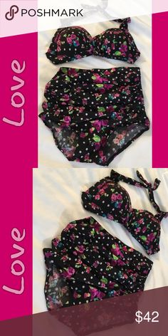 Tankini Set This is os cute, i wish this would fit me, ☹️ , its so darn cute, black an white polka dot, with pink flowers, padded bikini top, that ties around the neck, the bottoms are high waisted , that cinches....so cute.  NWOT.   B-1 Swim
