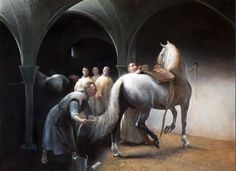 one of 20 paintings of Carthusian (Andalusian) horses, depicting the mood in those days breeding those beautiful horses.