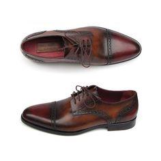 Paul Parkman Men's Bordeaux / Tobacco Derby Shoes  (ID#046-BRD-BRW)