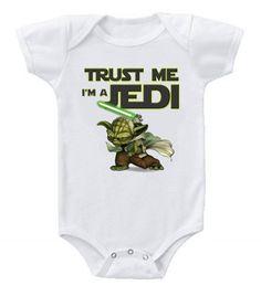 Funny Humor Custom Baby One-Piece Bodysuits Creeper Trust Me Star Wars Jedi Star Wars Baby Clothes, Funny Baby Clothes, Cute Funny Babies, Newborn Baby Care, Baby Care Tips, Star Wars Jedi, Baby Bodysuit, Onesie, Baby Boy Shower