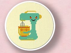 Cute Teal Stand Mixer Cross Stitch Pattern PDF File by andwabisabi, $3.50