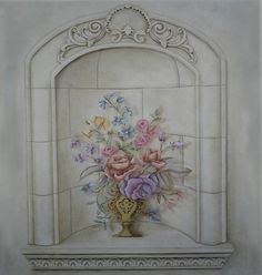 This realistically sized elegant floral trompe l'oeil vase wall mural stencil design was featured on our Design Portfolio cover for years and is beautiful stenc