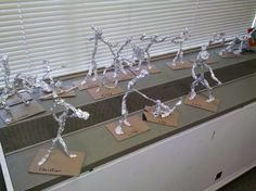 """Tin foil covered pipe cleaners...people sculptures! Great for art lesson on """"form"""""""